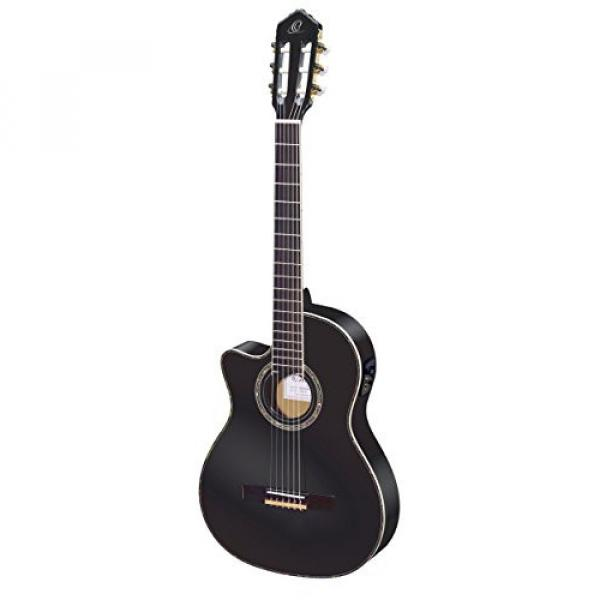 Ortega Guitars RCE145LBK Family Series Pro Left Handed Nylon 6-String Guitar with Spruce Top, Mahogany Body and Pickup
