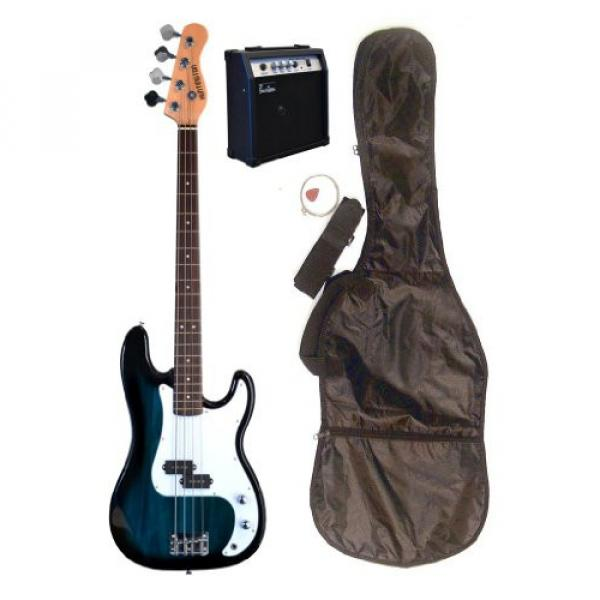 "Full Size 43"" Precision P Blue Electric Bass Guitar with 10 Watt Amplifier Pack & DirectlyCheap(TM) Translucent Blue Medium Guitar Pick"