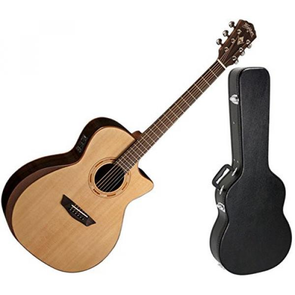 Washburn WCG20SCE Natural Grand Auditorium CW Acoustic-Electric Guitar w/ Hard Case