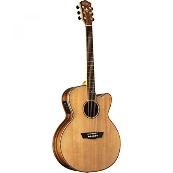 Washburn WJ55SCENS Willie K Signature Acoustic-Electric Guitar, Natural Satin
