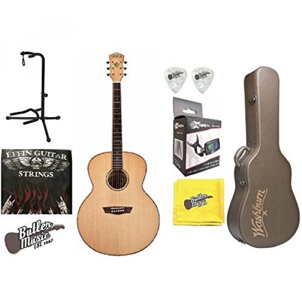 Washburn WJ45S Jumbo Solid Spruce Top Acoustic Guitar w/Hard Case + More