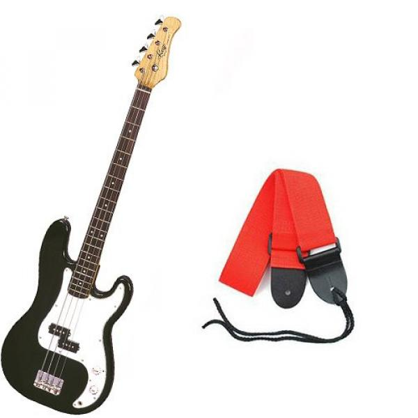It's All About the Bass Pack - Black Kay Electric Bass Guitar Medium Scale w/Red Strap