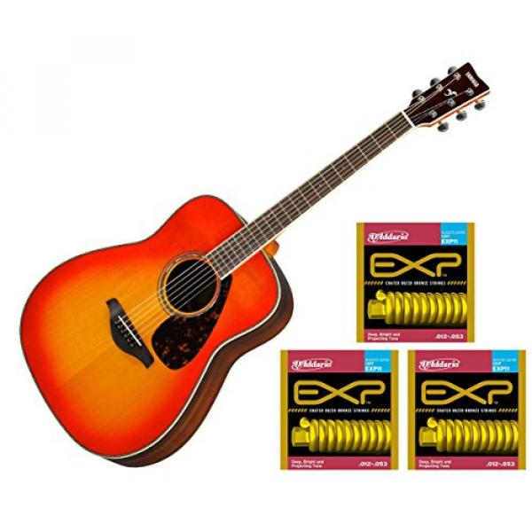 Yamaha FG830 Acoustic Folk Back/Sides - Autumn Burst w/3 Sets D'Addario EXP11 Strings