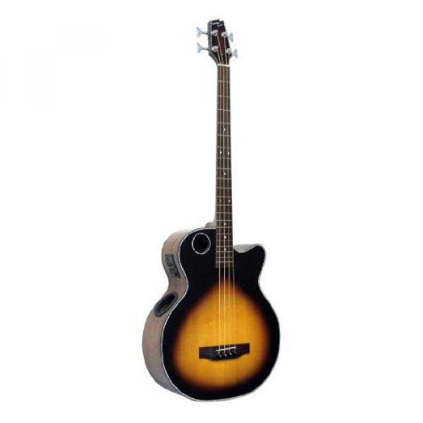 Boulder Creek Guitars EBR1-TB4 4-Strings Acoustic-Electric Bass Guitar, Tobacco Sunburst Finish