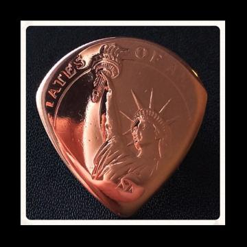 Custom Guitar Plectrums. Statue Of Liberty Cooper Bullion Coin Plectrum / Pick