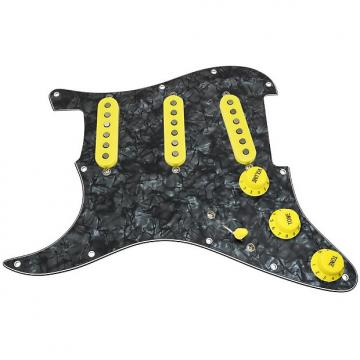 Custom Loaded LEFT HANDED Strat Pickguard, Fender Deluxe Drive, Black Pearl/Yellow