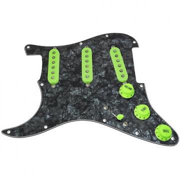 Custom Loaded LEFT HANDED Strat Pickguard, Fender Deluxe Drive, Black Pearl/Green