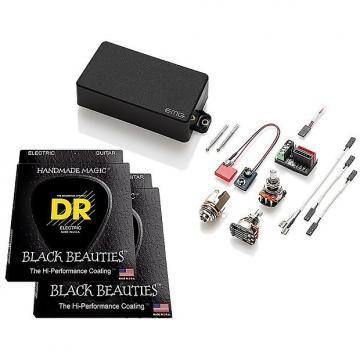 Custom EMG 60 Active Humbucker Pickup, Black, w 2 sets DR Strings Black Beauties 9-46