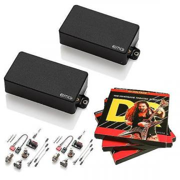 Custom EMG-85 and 81 Active Pickup Set, Black, w 3 sets DR Dimebag Hi-Voltage 9-46