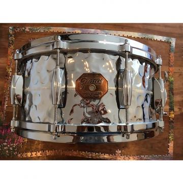 Custom Gretsch Hammered Chrome over Brass U.S.A. Custom COB Snare Drum Stop Sign Badge