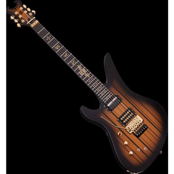 Custom Schecter Synyster Custom-S Left-Handed Electric Guitar in Satin Gold Burst