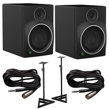 Custom Mackie - MR6mk3 Studio Monitors Pair with Cables and Stands Bundle