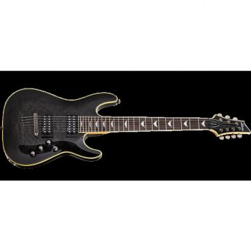 Custom Schecter Omen Extreme-7 Electric Guitar in See-Thru Black Finish