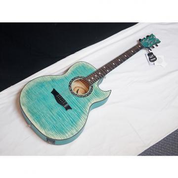 Custom DEAN Exhibition Flame Maple CUTAWAY acoustic A/E GUITAR Faded Denim Blue NEW