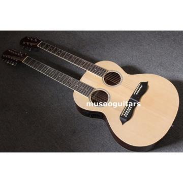 Custom Shop Natural Finish Double Neck Acoustic Electric Guitar
