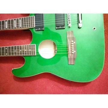Custom Ibanez JEM Green Double Neck Acoustic Electric 6 6 Strings Guitar