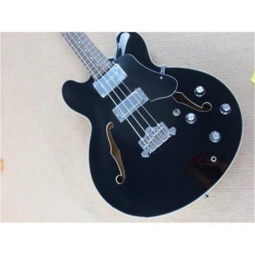 Custom Shop Black Midtown Standard 4 String Fhole Semi Hollow Bass