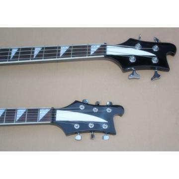 Custom Shop 4003 Double Neck Black 4 String Bass 6 String Guitar