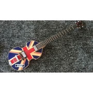 Custom Hofner Jubilee Union Jack Paul Mcartney Violin 4 String Bass Guitar