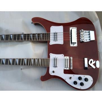 Custom 4080 Double Neck Geddy Lee Burgundyglo 4 String Bass 6/12 String Guitar Left Handed