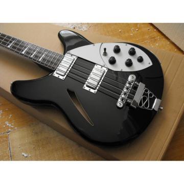 Custom Black 4 Strings Rickenbacker 330 Hollow Bass