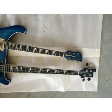 Custom 4003 Double Neck 4 String Bass 6 String Guitar Flame Maple Blue Wave Top
