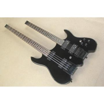 Custom Shop Double Neck Black Steinberger Headless 4 String Electric Bass 6 String Guitar