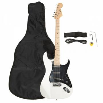 ST Black Pickguard Electric Guitar White with Amplifier Bag Strap Tool Pick