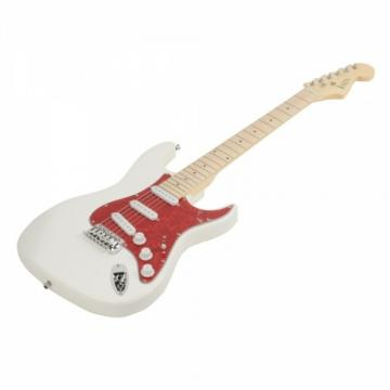 ST3 Pearl-shaped Pickguard Electric Guitar White with Bag Strap Tool Pick