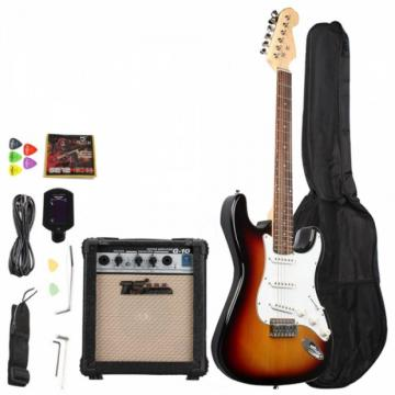 Rosewood Fingerboard Electric Guitar with Amp Turner Bag & Accessories White Red