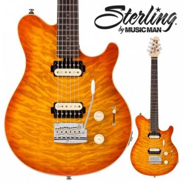 New Sterling Model AX30D-CRB Quilt Maple Cherry Burst Electric Guitar w/Dimarzio