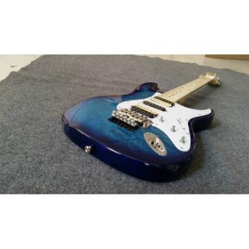 Custom Shop Strat Electric Guitar Transparent Whale Blue Quilted Floyd Rose Tremolo Maple Top