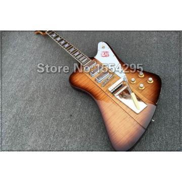Custom Shop Flame Maple Brown Tremolo Firebird Electric Guitar Maestro Vibrola
