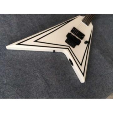 Custom Shop 6 String Jackson Flying V White Electric Guitar Tree of Life Inlay