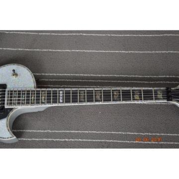 Custom Shop 3 Pickups ESP Silver Dust Sparkle Electric Guitar Abalone