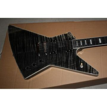 Custom Shop 1958 Korina Explorer Black Gray Flame Maple Electric Guitar