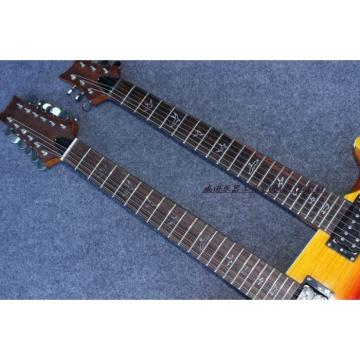 Custom PRS Double Neck 6 String Electric Guitar Tricolor Passive Pickups and 12 String Guitar