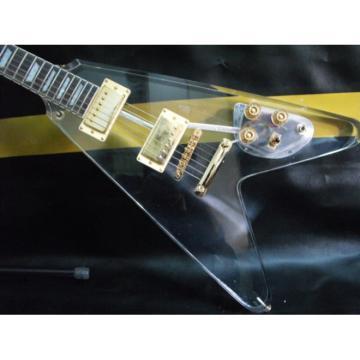 Custom Plexiglass Acrylic Transparent LP Flying V Electric Guitar
