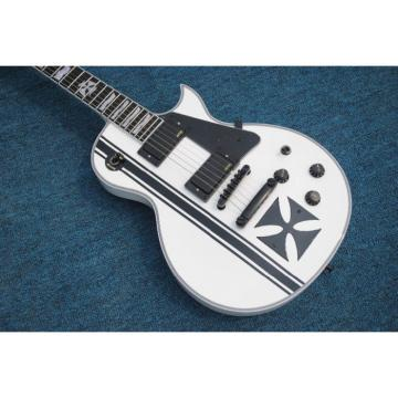 Custom Made ESP Metallica James Hetfield Iron Cross  Snow White w/ Stripes Graphic Electric Guitar