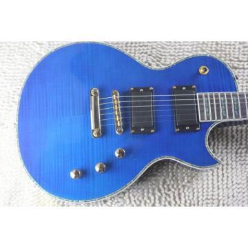 Custom LTD Deluxe ESP Flame Maple Top Blue Electric Guitar