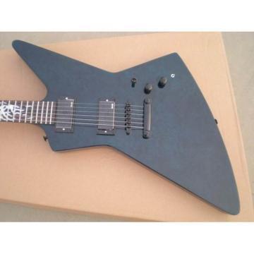 Custom Ken Lawrence Explorer Flame Maple Top Midnight Blue Electric Guitar