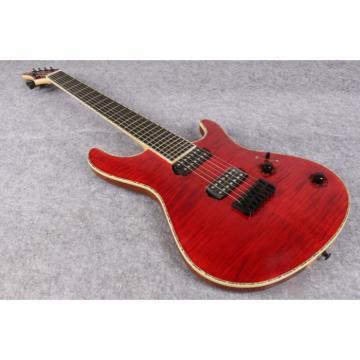 Custom Built Mayones Regius 7 String Electric Guitar Tiger Maple Red
