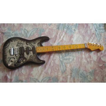 Custom Black Paisley American Fender Flower Electric Guitar