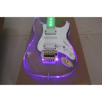 Crystal Blue Green Led Acrylic Stratocaster Electric Guitar