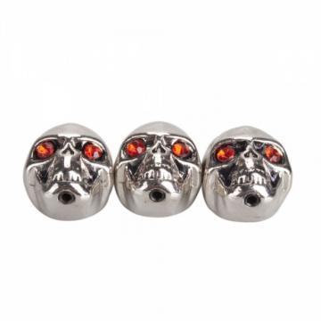 3Pcs Electric Guitar Skull Volume Knobs Silver