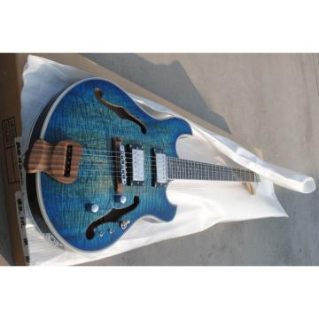 Custom Shop Whale Blue Tiger Maple Top Languedoc Electric Guitar with Bracing Inside
