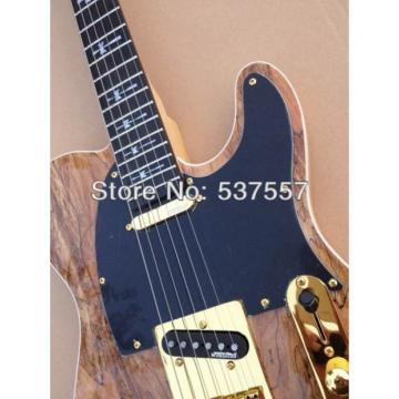 Custom Shop Telecaster Tremolo Natural Wood Gold Hardware Electric Guitar
