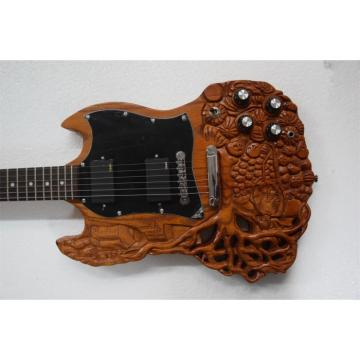 Custom Shop SG 6 String Skull Tree of Life Carved Natural Electric Guitar Carvings