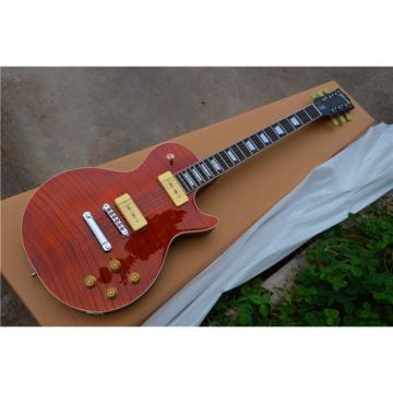 Custom Shop LP Red Orange Tiger Flame Maple Top Electric Guitar