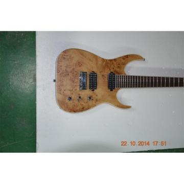 Custom Shop Black Machine 7 String Natural Birdseye Electric Guitar